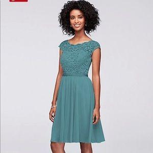 Davids bridal bridesmaid dress teal blue